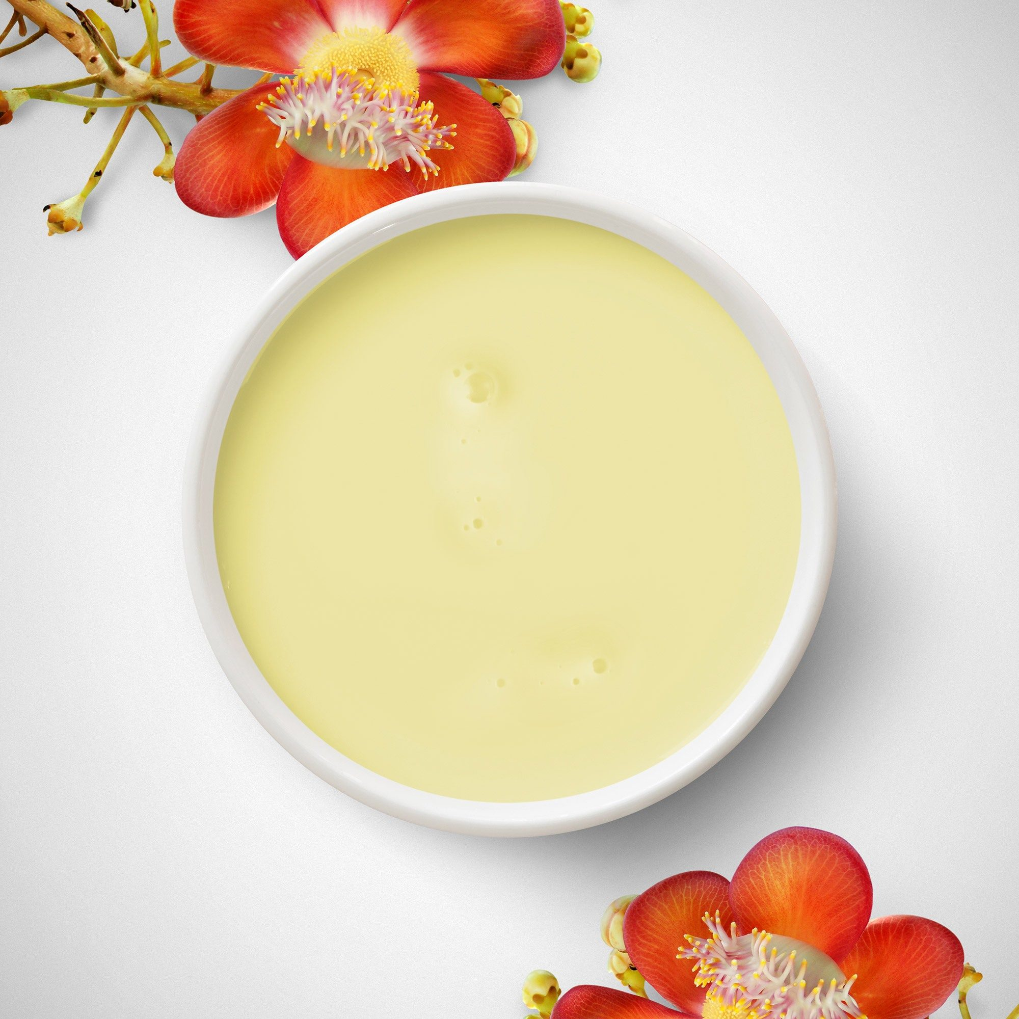 A yellowish substance in a small bowl, decorated with red flowers.