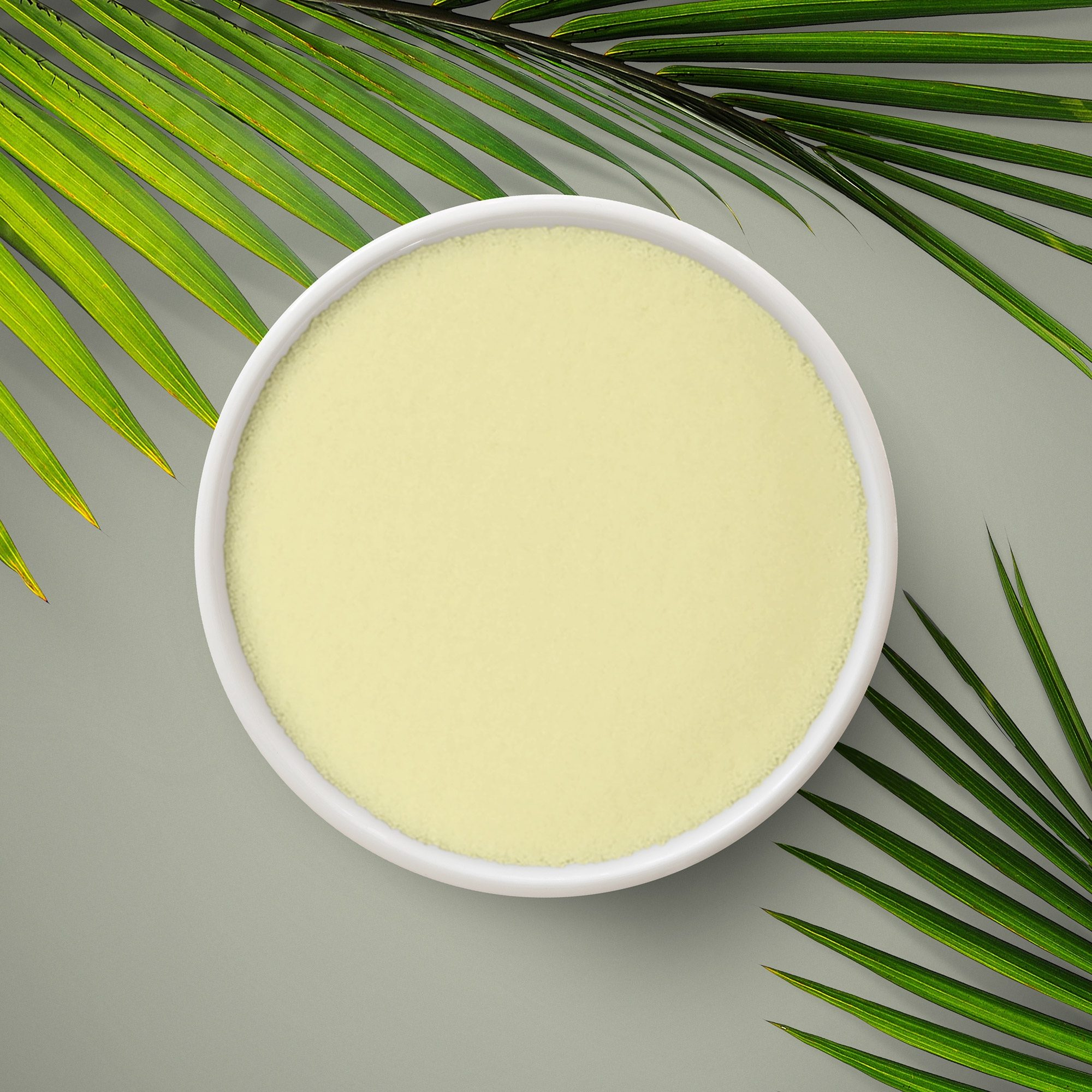 Fine, yellow, natural wax powder, which can be used as an ingredient for food, pharmaceuticals or vegan beauty products.